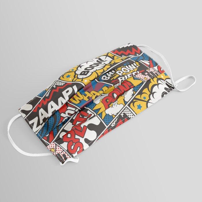 Modern Comic Book Superhero Pattern Color Colour Cartoon Lichtenstein Pop Art Face Mask