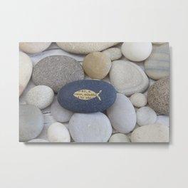 Mindful fish symbol on pebble Metal Print
