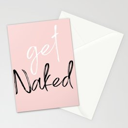 Get Naked, Funny Bathroom Art, Pink, Black and White Print. Stationery Cards