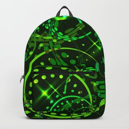 Metallic stars and rings in green hues on a sparkling background. Backpack