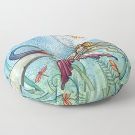 Down by the Pond Mermaid Fantasy Art by Molly Harrison Floor Pillow