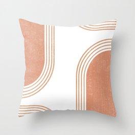 Mid Century Modern 4 - Geometrical Abstract - Minimal Print - Terracotta Abstract - Burnt Sienna Throw Pillow