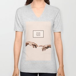 The Creation of Adam by Michelangelo Unisex V-Neck