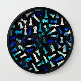 Chess Figures Pattern -Watercolor Blue and Teals Wall Clock