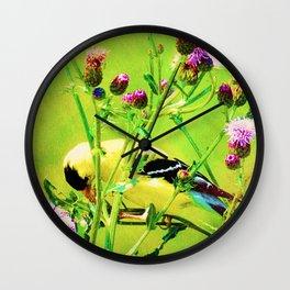 Goldfinch Yellow Bird Purple Flowers Modern Cottage Chic Decor A101 Wall Clock
