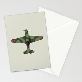 MiG-3 WWII Fighter Aircraft - Green Stationery Cards