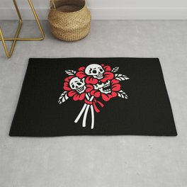 Bouquet of flowers with human skulls Rug