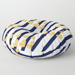 Holiday Hearts Blue and Gold #xmas #christmas #minimal #love #design Floor Pillow