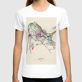Colorful City Maps: Haifa, Israel T-shirt