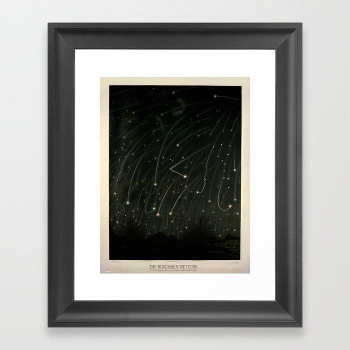 Meteor shower by Étienne Léopold Trouvelot (1868) Gerahmter Kunstdruck