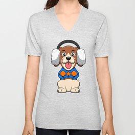 Cute Beagle Dog Winter Earmuffs Sit Up And Beg Unisex V-Neck