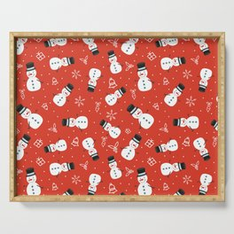 Snowmen on Red Christmas Pattern Digital Graphic Design Serving Tray