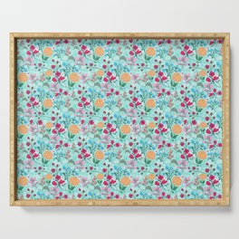 Cute Pink & Blue Small Floral Mint Design Serving Tray