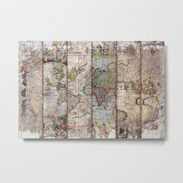 Old Times (World Map) 2 Metal Print