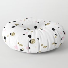 Pink Black Gold Party Dots Floor Pillow