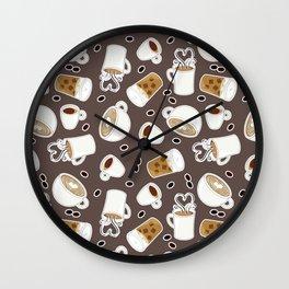 Coffee Lover Pattern Wall Clock