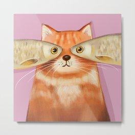 Creative Fish Eye Fat Ginger Cat Home Decor, Wall Art, Phone Cover, Laptop skin Digital Art Print Fo Metal Print