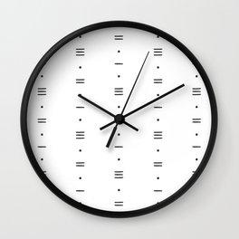 Dots & Dashes - Minimalist Line Pattern - White Wall Clock