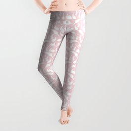Rabbit Pattern | Rabbit Silhouettes | Bunny Rabbits | Bunnies | Hares | Pink and White | Leggings