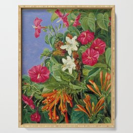 Tropical Hibiscus and Bougainvillea Flowers still life painting Serving Tray