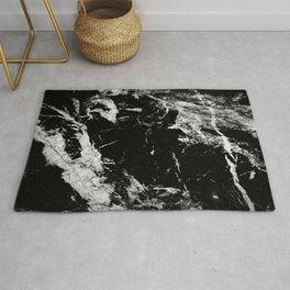 Dark marble black white stone1 Rug