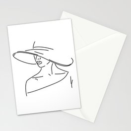 Outline Drawing Woman With A Hat Stationery Cards