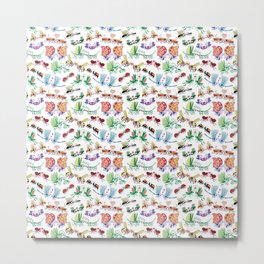 Funny insects falling in love posing for a pattern design Metal Print