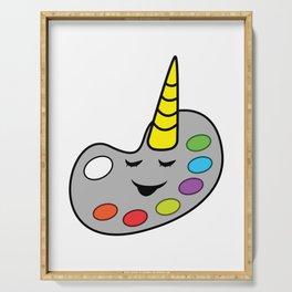 Painter unicorn color palette artist gift Serving Tray