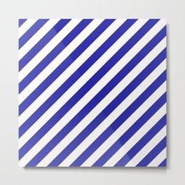 Diagonal Stripes (Navy Blue & White Pattern) Metal Print