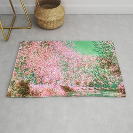 Monet : Bend in the River Epte 1888 Pink Green Rug