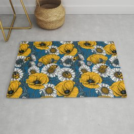The meadow in yellow and blue Rug