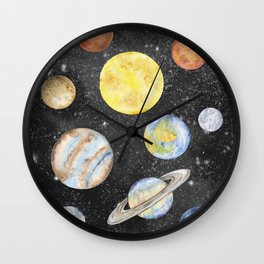 Watercolor Planets Wall Clock