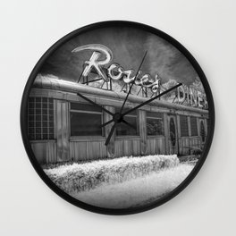 Rosie's Diner Photograph in Infrared Black & White by Rockford, Michigan Wall Clock