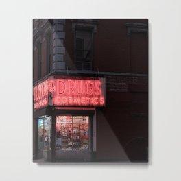 New York City Travel Photo, Wall Art, NYC Night, Minimalist Print, Wall Decor, Neon Lights, Manhattan, Street Landscape Photography Metal Print