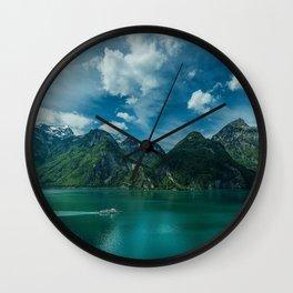 Swiss Alps Lake Lucerne summer mountains Alps Switzerland Europe Wall Clock