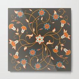 Modern Persian Flowers (dark v.) Metal Print