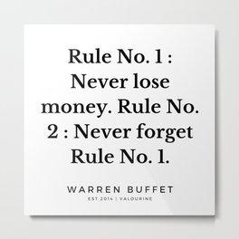 10  | Warren Buffett Quotes | 190823 Metal Print