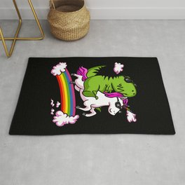 T-Rex Dinosaur Riding Magical Unicorn Rainbow Rug
