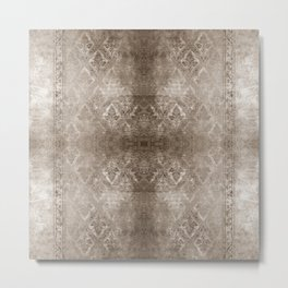 WARM SILVER FADED DAMASK  Metal Print