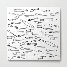 Kitchen Utensils Art Metal Print