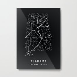 Alabama State Road Map Metal Print