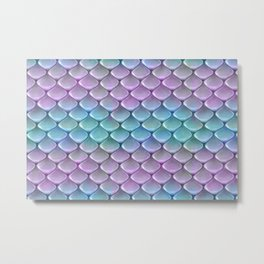 Pink And Turquoise Glamour Mermaid Scale Pattern Metal Print