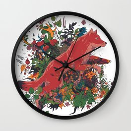 dream of red wolf Wall Clock
