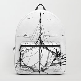 Boat on the sand Backpack