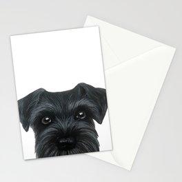 Black Schnauzer, Dog illustration original painting print Stationery Cards