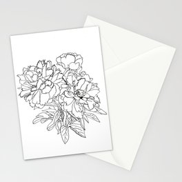 Peony from the garden - Line work Stationery Cards