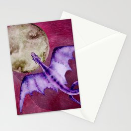 Purple Watercolor Dragon Flying By The Moon - Fantasy Art Print Stationery Cards