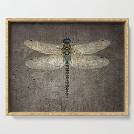 Dragonfly On Distressed Metallic Grey Background Serving Tray