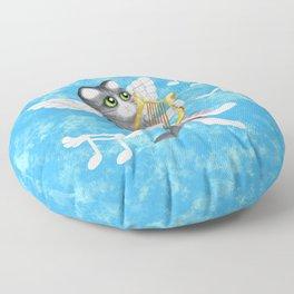 Grey Cherub Kitten Playing a Lyre Floor Pillow