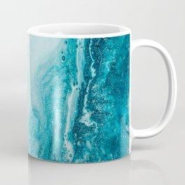 Azure, teal, aqua and gold marble texture Coffee Mug